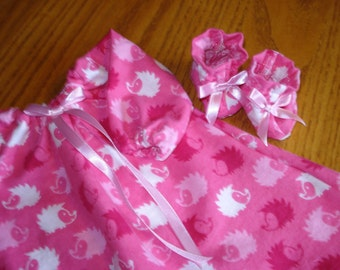 Flannel Long Nightgown and Slippers,   Baby or any 15 inch doll bright hedgehog flannel print