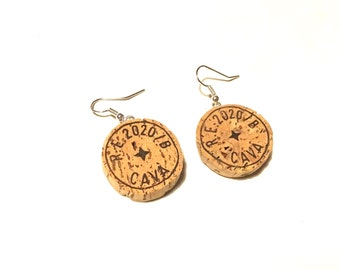 Cava cork earrings handmade champagne recycling upcycling green natural country kitsch chic retro geek