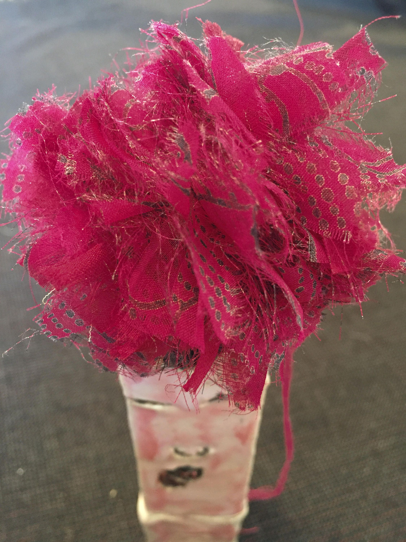 Pomegranate Scoop Pompom Dainty Silk Pompom Hair Clip Accessory