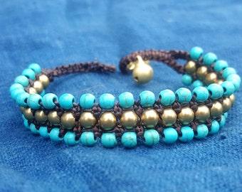 Simple Turquoise Blue Beaded Bracelet