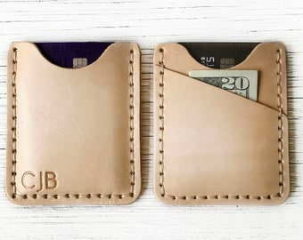 Wallet, Leather Mens Front Pocket Wallet Personalized with up to 3 Letters, Characters, Initials - Slim, Thin and Durable - Genuine Leather