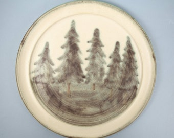 Vintage Ceramic / Pottery  / Stoneware Plate, Tree Design, Hart's Stoneware 1996 Jeff Hart 10.8 Inches