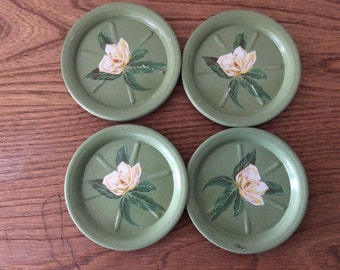 Retro Green Round Metal Coasters with Flowers - Set of 10