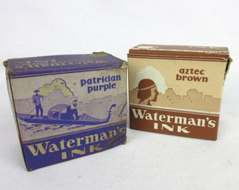 Vintage Watermans Ink Bottles / Jars in Original Boxes, Patrician Purple / Aztec Brown