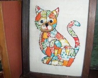 Vintage Handmade Kitty Cat Cross Stitch Needlepoint Wall Art Framed