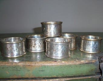 Set of 6 Vintage Napkin Rings India Brass Silver Washed Hammered Dinner Serveware Setting Place Setting