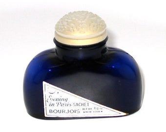 Evening In Paris Sachet, Embossed Glass Floral Top, Cobalt Blue Bottle, Powder Included, Bourjois, 3/4 Oz., New York, c1940