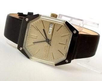 Rare Mens Watch RAKETA 19 Jewels. Star Wars Model Mens Wrist Watch. Mechanical  Gents Watch With Double Calendar. Vintage Watch For Men 80s.
