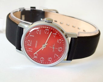 Red Dial Vintage Watch Pobeda Victory. Mechanical Mens Dress Watch 80s. Genuine Leather Strap Watch Classic Gent's Wrist Watch Gift For Him