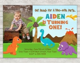 Dinosaur Birthday Invitation Boy Dinosaur Invite - Printable File or Printed Invitations