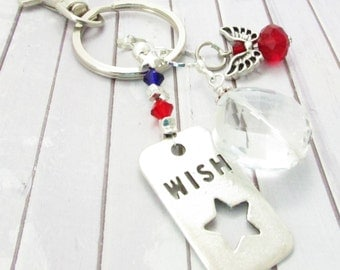 Star Keychain, Crystal Keychain, Angel Keychain, Wish Upon a Star, Star Key Fob, Star Keyring, Car Accessories, Mother's Day Gift for Her