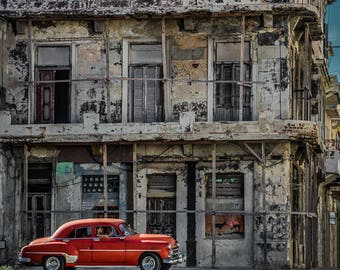 "Cuban art, Old Havana Cuba Photo, Classic Car Art, Red Vintage Car, Classic Car Photography, Cuba Art Print, Wall Art ""Urban Retro"""