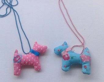 Scottie Dog necklace. Pink polka dot or floral. Hand embroidered stuffed dog. Metallic chain. Dog lovers, pet mom. Birthday gift (1pc)