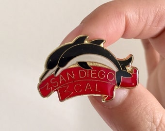 Vintage Lapel Pin or Hat Pin - San Diego California with Dolphins