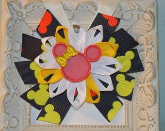 Red and Yellow Minnie Mouse Bow
