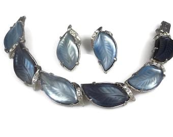 Florenza Blue Molded Glass Leaf Bracelet Earrings Set 1960s