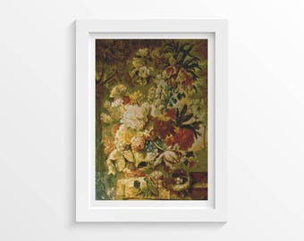 Floral Cross Stitch Kit, Flowers Cross Stitch, Embroidery Kit, Art Cross Stitch, Joseph Nigg (NIGG03)