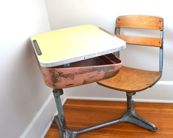 Vintage School Desk Wood and Metal, American Seating, Adjustable, Large Quantity