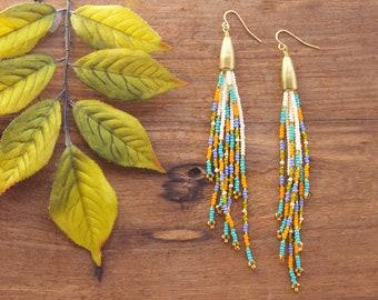 Long Tassel Earrings, Tassel Seed Bead Earrings, Fringe Seed Bead Earrings, Long Fringe Earrings, Beaded Tassel, Long Festival Earrings