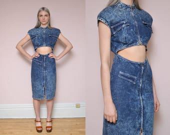 80s Denim Dress S Acid Wash Dark Wash Cut Out Peekaboo Tummy Keyhole Zip Up Moto Chic Structured Midi Mini Dress