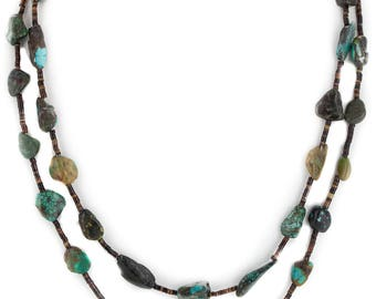 380 Retail Tag 2 Strand Authentic Navajo Made by Charlene Little .925 Sterling Silver Natural Turquoise Native American Necklace 16006-66