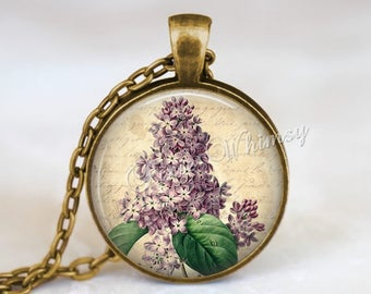 LILAC Necklace Pendant Jewelry Keychain, Lilac Flower Necklace, Vintage Lilac Botanical Art, Gift for Gardener Florist Lavender Flower