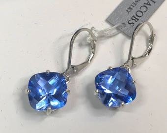 Gorgeous 10ctw Cushion Cut Blue Quartz Leverback Earrings Dumortierite Paraiba Color Earrings Trending Jewelry Gift Mom Wife Fiance Daughter