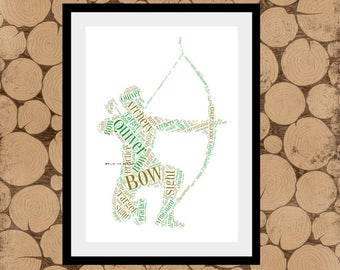 Archery Word Art, Gift For Archer, Personalised Archery Print, Archery Word Cloud, Archery Word Collage, Gift for Archery Coach, Archery