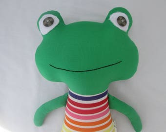 Frog Doll with Striped Rainbow outfit, Ready to ship, baby frog, frog softie, stuffed frog,