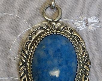 Lapis Denim Sterling Silver Pendant, Native American, Stamped GU