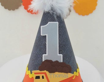 Lil' Construction Zone Birthday Party Hat - Denim, Silver - Grey, Yellow, Orange - Personalized