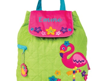 Girls Flamingo Backpack - Green and Pink Toddler Monogrammed Backpack