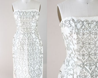 1960s white strapless dress // brocade embroidery dress // vintage wedding dress