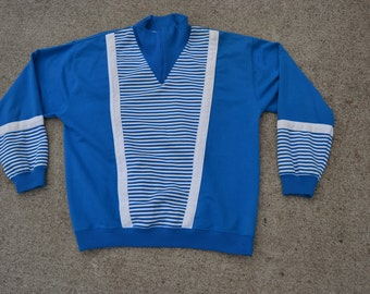 Crazy Trippy Vintage 80's Blue Striped Sweatshirt