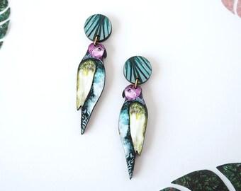 Parrot Earrings - Statement Bird Earrings - Bird Dangle Earrings - Bird Jewellery - Parrot Print - Drop Earrings - Tropical Earrings