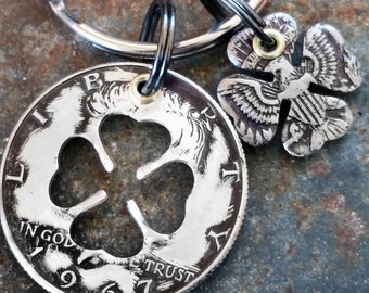 50th Birthday 1967 Silver Four Leaf Clover Keychain 50th Anniversary St Patrick's Day Gift Coin Jewelry made from a 1967 Kennedy Half Dollar