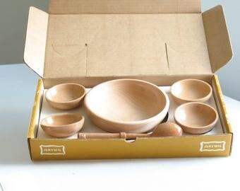 Vintage wood pinch bowl set / little wooden bowls / mise en place prep bowls