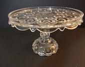 Antique EAPG Cake Stand - ADAMS  Palace or Moon & Stars Clear Glass Cake Stand- 1888- Victorian Early American Pattern Glass - Wedding Decor