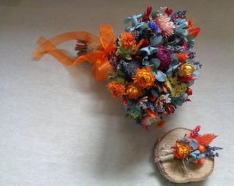 Rustic autumn/winter wedding bridal bouquet with boutonniere country woodland wedding bouquet bridal bouquet with orange , burgundy and blue