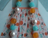 "M2M "" Fresh Squeesed & Sweet Clementine "" Once Upon A Time "" Collection 2016  Glass Bead Necklace, Toddler, Girls, Birthday, Photo Prop"