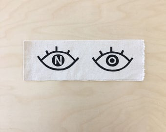 NO eyes sewable patch // natural canvas