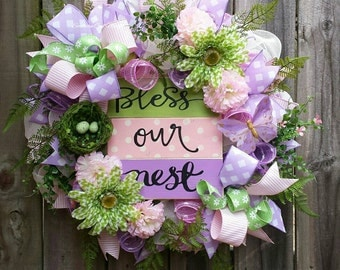Bless Our Nest wreath, Spring wreath, Easter wreath, Bless Our Nest sign, Spring wreaths, Spring floral wreath, Floral wreath, Spring decor