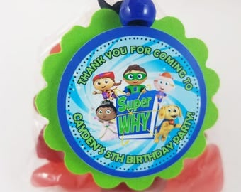 Personalized Super Why Favor Tags