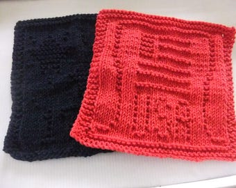 FOURTH OF JULY Dishcloths/Memorial Day Dishcloths/Patriotic Dishcloths/Red And Blue Dishcloths