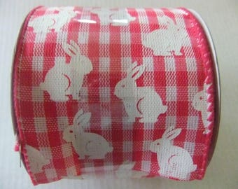 BUNNY RIBBON/Red and White Checked Ribbon/2 and one half inch by 12 feet Ribbon/Wired Ribbon/Decorative Ribbon