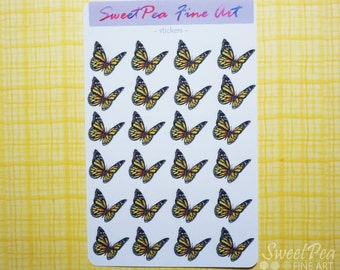 Monarch Butterfly Planner Stickers - Colorful Butterfly Stickers for Agenda, Calendar, Scrapbook, Gift, Birthday Card, Erin Condren, kikki.K