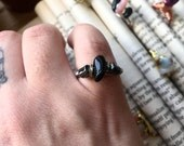 Wire wrapped HEMATITE and black TOURMALINE hammered copper ring