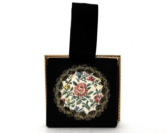 Vintage 1940s Purse // Black// Metal Fram// Tapestry Ornamentation// Shiny Trim//Floral//Handbag//Strap Handle// Box Purse