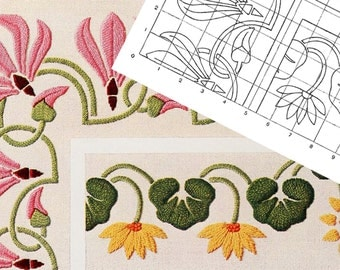 PRINTABLE ART NOUVEAU Floral Embroidery Pattern Number 3 ~ Hand Embroidery Sewing Pattern pdf and Jpg Images