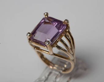 Large Amethyst Solitaire Ring 14K Gold